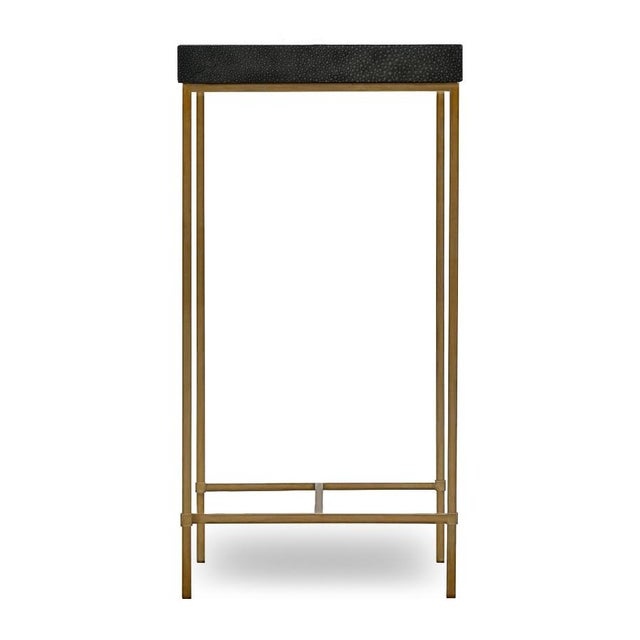 The Abshire Accent table top is wrapped in genuine black shagreen with an ivory shagreen diamond in the center. The base...