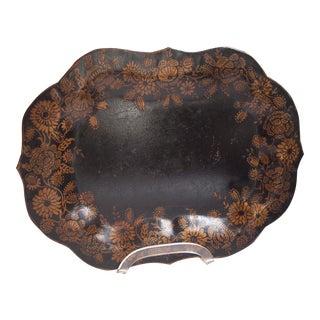Small, Ebonized 19th Century Tole Tray For Sale