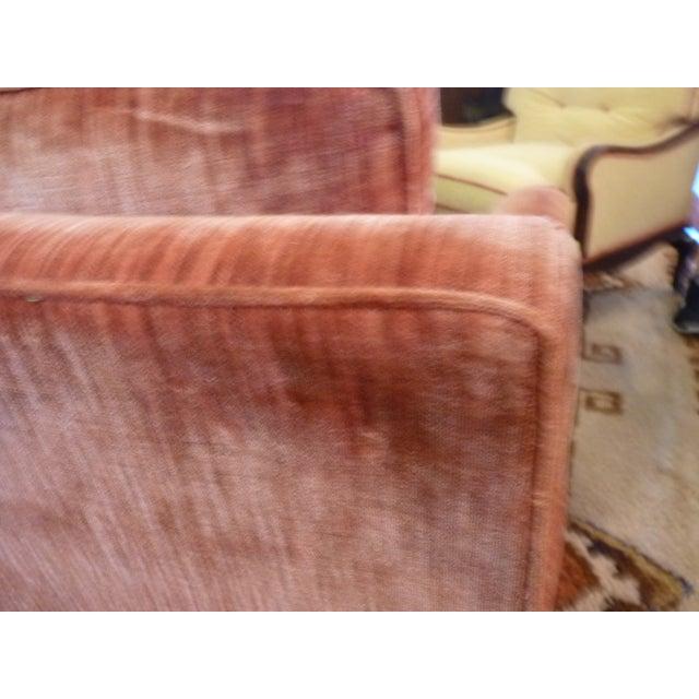 Coral Velvet Sofa For Sale - Image 7 of 9