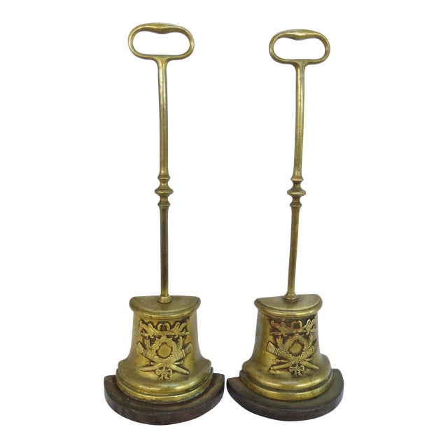 1800's Antique French Brass Door Stops - A Pair - 1800's Antique French Brass Door Stops - A Pair Chairish