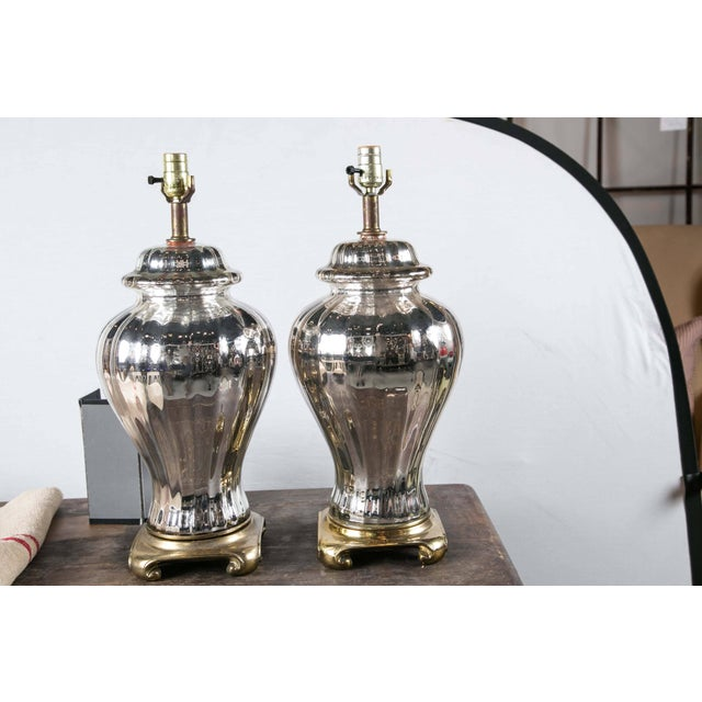 French Mercury Glass Ginger Jar Table Lamps - a Pair For Sale - Image 4 of 4