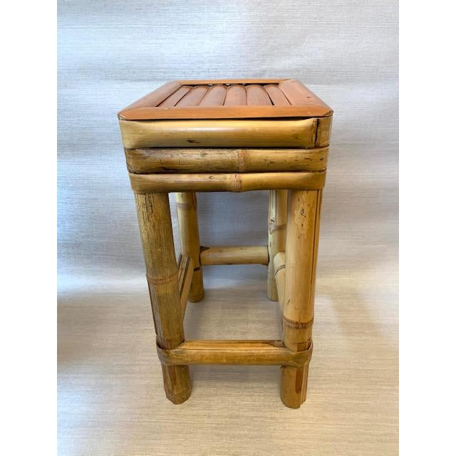 Mid 20th Century Bamboo Drinks Side Table or Plants Stand For Sale - Image 5 of 5