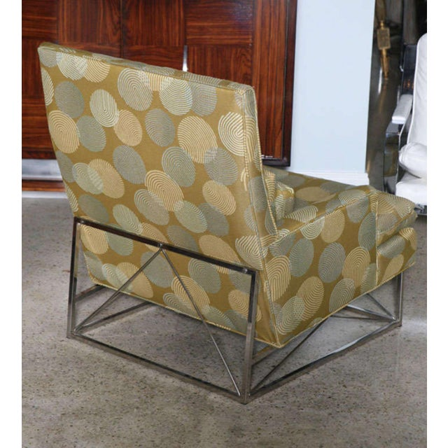 Fine Pair of Michel Boyer Chrome High Back Chairs and Ottoman For Sale In Miami - Image 6 of 9