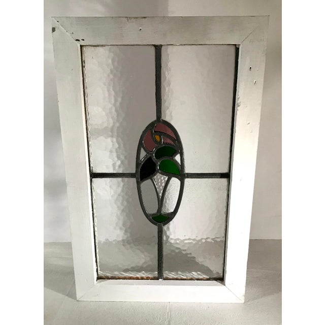 Rustic Vintage Mid Century Stained Glass Window For Sale - Image 3 of 9