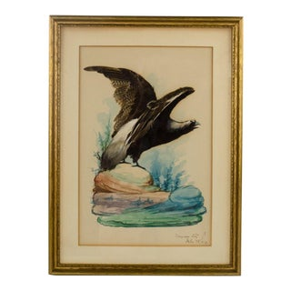 """1910 """"Aplomado Falcon Taking Flight"""" Mexican Feather Folk Art Painting Print For Sale"""
