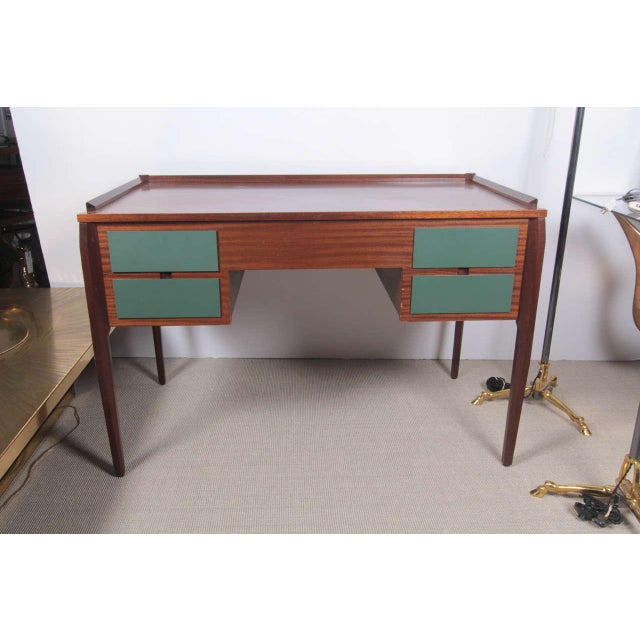 Rare Italian desk in mahogany. Sometime sold for Gio Ponti in Auction (a second available).