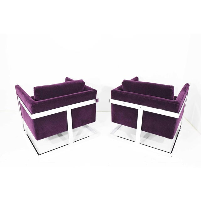 Milo Baughman T-Back Cube Chairs in Maharam Mohair - a Pair For Sale In Dallas - Image 6 of 13