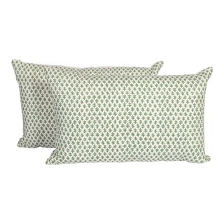 Green Linen Burmese Pillows, a Pair