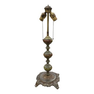 Vintage Iron & Marble Table Lamp With Hubbell Sockets For Sale