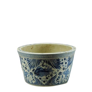 Asian Modern Blue and White Porcelain Fish Bowl Planter For Sale
