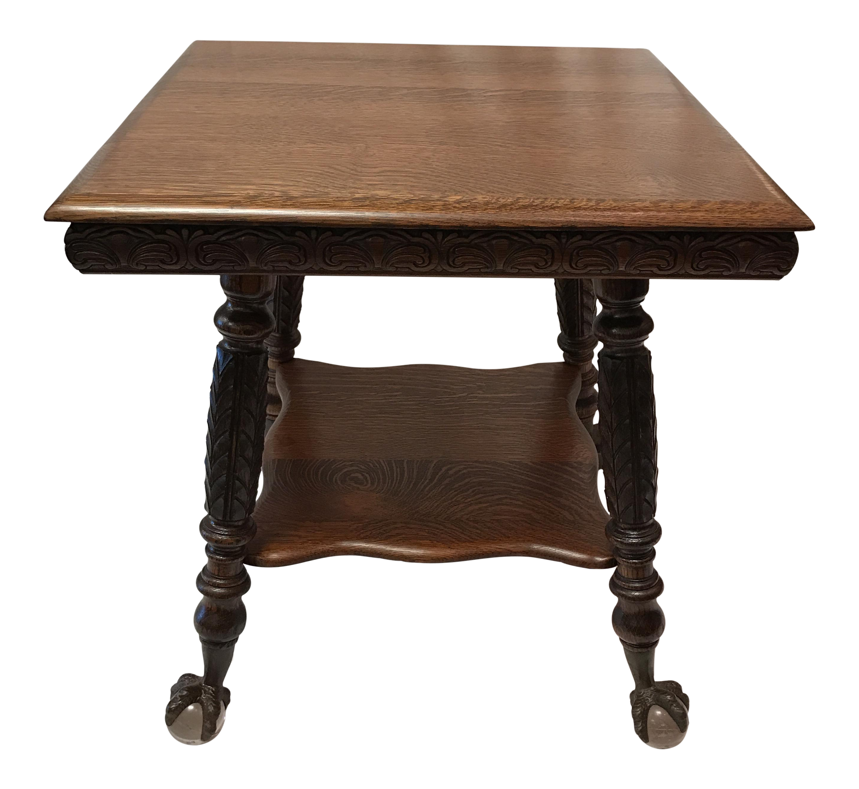 Charmant Antique Claw Foot Oak Table For Sale