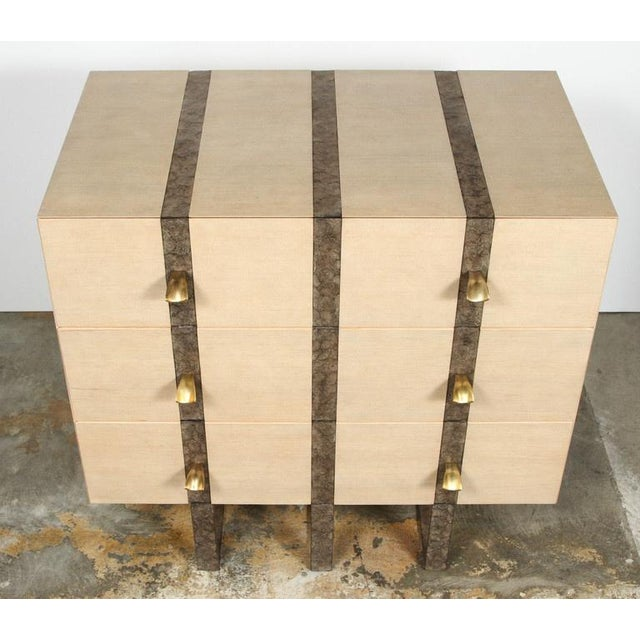 Contemporary Paul Marra Three-Drawer Banded Chest in Bleached Douglas Fir and Inset Iron Band For Sale - Image 3 of 10