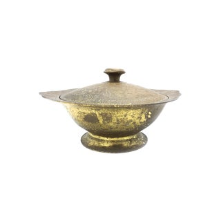 Vintage Mid Century Hand Etched Brass Lidded Bowl, Made in India For Sale