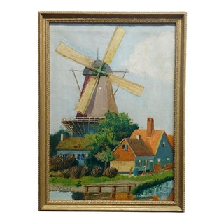 "C. Busch ""Dutch Windmill"" Oil Painting For Sale"