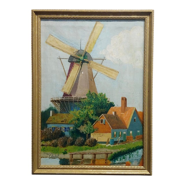 """C. Busch """"Dutch Windmill"""" Oil Painting For Sale"""