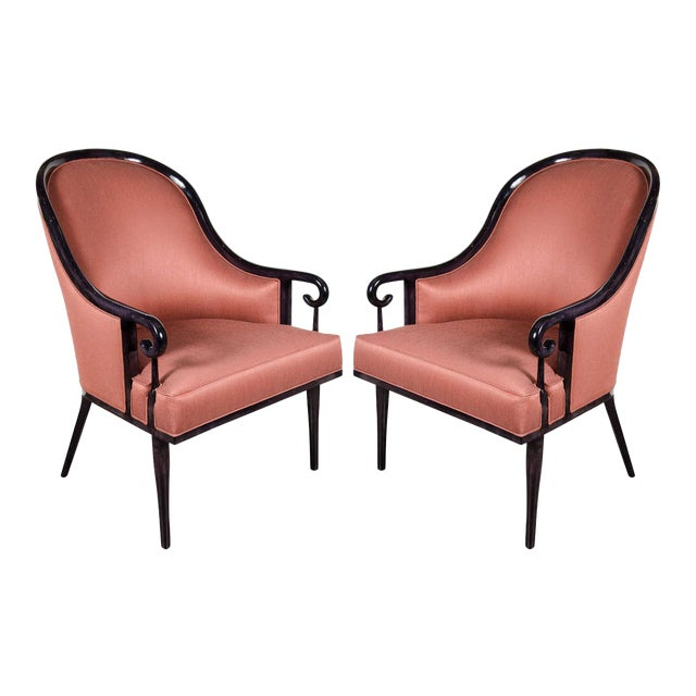 Ultra Chic Pair of Mid-Century Scroll Arm Chairs with Spoon Back design For Sale