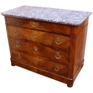 French Charles X Marble Top Walnut Commode