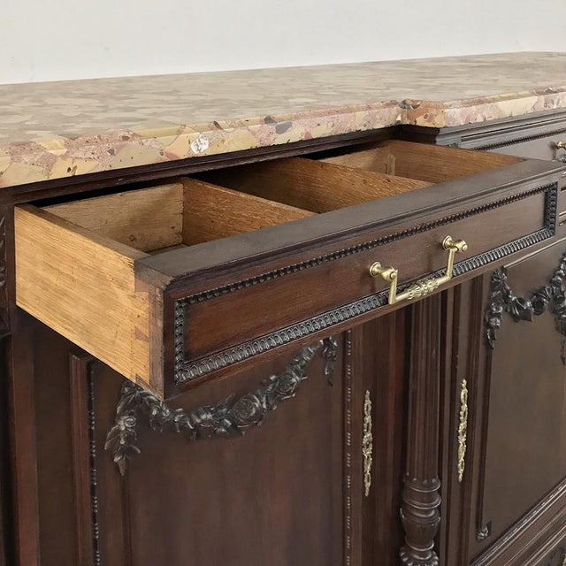 19th Century French Walnut Louis XVI Marble Top Buffet For Sale - Image 11 of 13