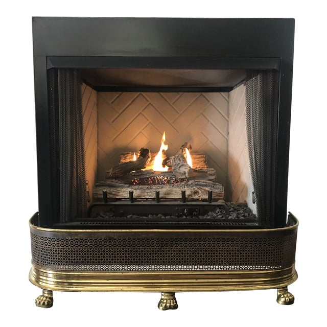 1920s Antique Brass Fireplace Fender With Log Catcher For Sale