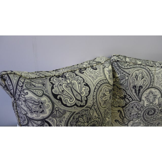 Contemporary Cotton Paisley Black and White Pillows - a Pair For Sale - Image 4 of 8