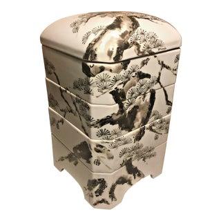 Vintage Japanese Jubako Bento Luncheon Trinket Hand Painted Pine Porcelain Box For Sale