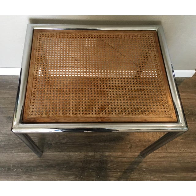 Vintage chrome and cane table attributed to Marcel Breuer. Quality of tubular steel joins and caning construction show...