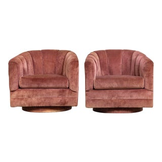 Mid Century Milo Baughman Style Pink Barrel Lounge Chairs - a Pair For Sale