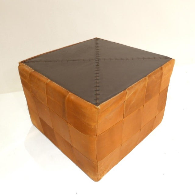 De Sede De Sede Patchwork Cube or Ottoman in Beautiful Patinated Cognac Leather For Sale - Image 4 of 7