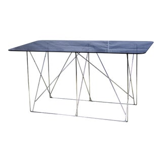 1970s Mid-Century Modern Max Sauze Folding Metal Base Dining Table For Sale