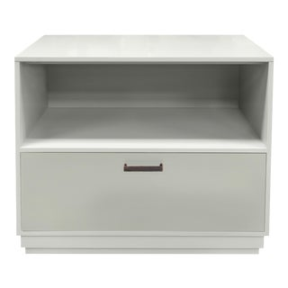 Minimalistic Maple Filing Cabinet From Garden Street in White with Contrasting Putty Drawer For Sale