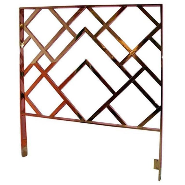 Vintage Milo Baughman Chinese Chippendale Brass King Headboard - Image 2 of 4