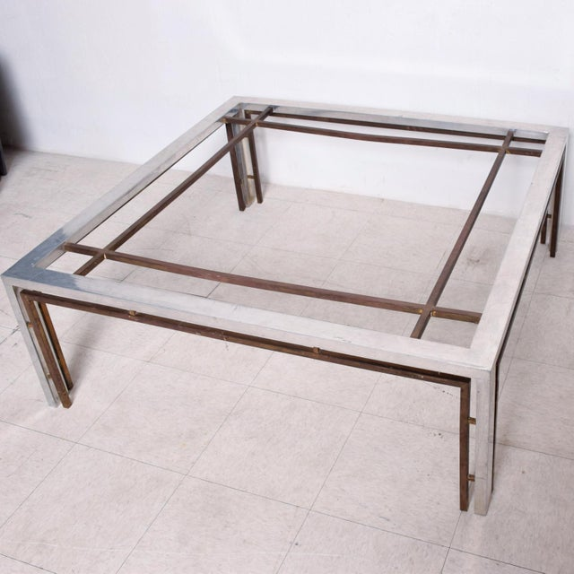 Mid-Century Modern Mid Century Mexican Modernist Large Coffee Table Arturo Pani Aluminum Bronze For Sale - Image 3 of 9