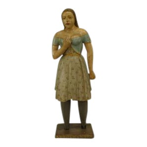 American Country Style Life Size Wood Figure Of Young Girl For Sale