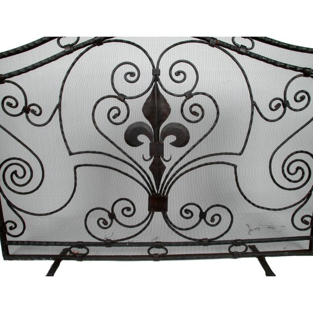 French Handmade Wrought Iron Fireplace Screen For Sale - Image 3 of 9