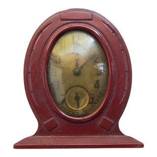 1930's Tiny Bakelite Horseshoe Clock For Sale