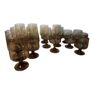 1970s Vintage Tawny Accent Glassware by Libbey- Set of 17 For Sale