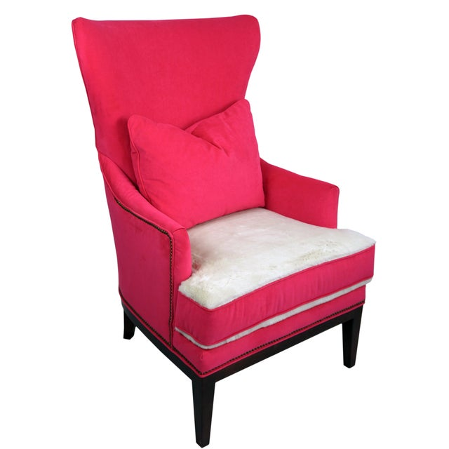 Pink BiltWell Showroom Hot Pink Faux Fur Wing Chair For Sale - Image 8 of 8