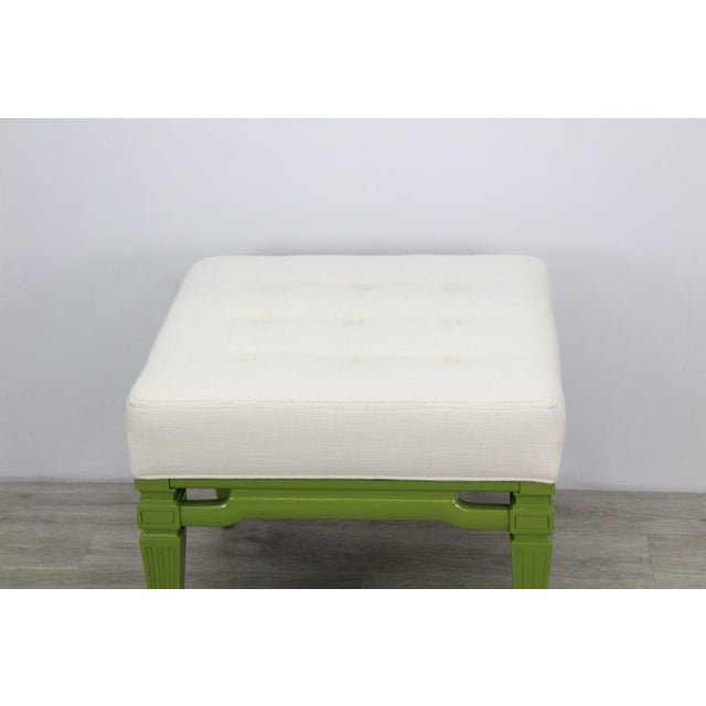 Elegant pair of green lacquered benches with linen cushions, This benches are great restored condition Dimensions;...