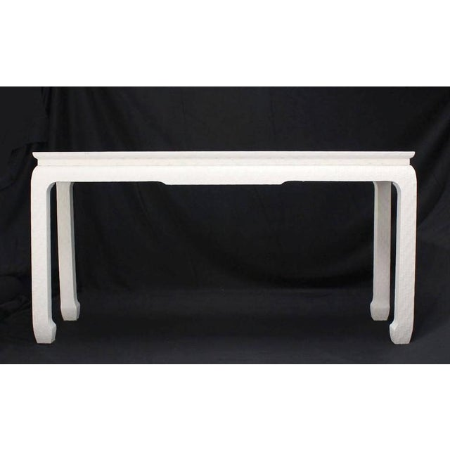White Grass Cloth Covered White Lacquer Console Sofa Table by Baker For Sale - Image 8 of 10