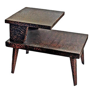 Mid Century Hammered Copper on Wood Side Table For Sale