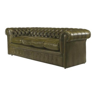 English Victorian Green Leather Chesterfield Sofa For Sale
