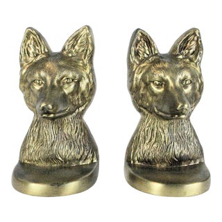 1940's Brass Fox Bookends For Sale