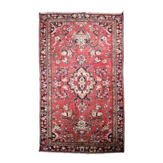 """1940s Hand-Knotted Persian Malayer Area Rug - 4′ × 6′5"""" For Sale"""