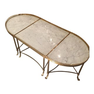 Maison Jansen Tripartite Brass Coffee Table + Carrara Marble Top For Sale