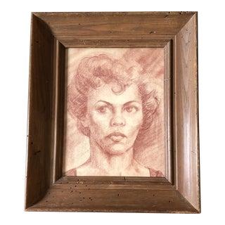 Original Vintage Sepia Conte Drawing Female Portrait Modernist Worm Wood Frame 1950's For Sale