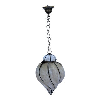 Italian Glass Lantern Frosted Wire Wrapped Lantern For Sale