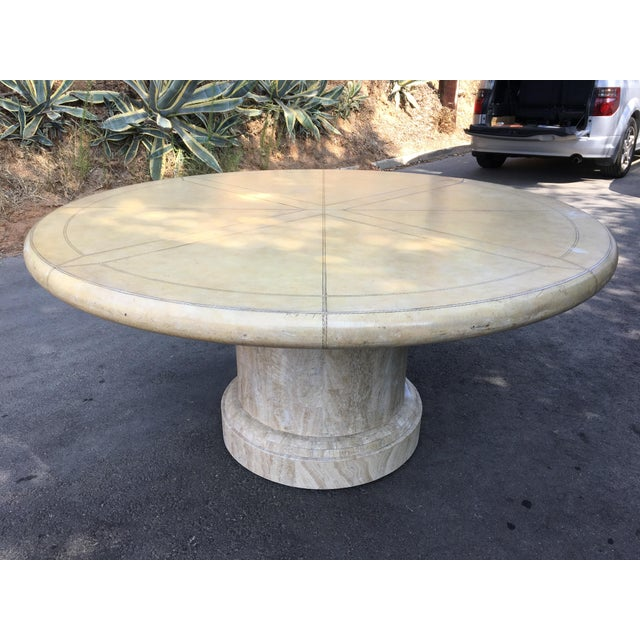 Animal Skin Maitland-Smith Round Leather Top Dining Table For Sale - Image 7 of 11