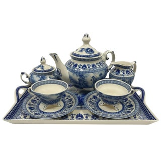 Liberty Blue Transferware Porcelain Tea Set With Tray Antique Reproduction - 10 Pieces For Sale