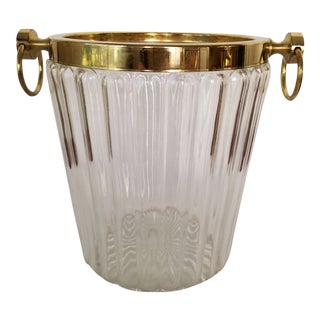 1950s Hollywood Regency Brass & Glass Champagne Bucket For Sale