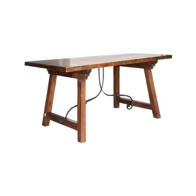 Rustic Spanish Beech Farm Table Iron Stretcher 19th C. For Sale - Image 3 of 11